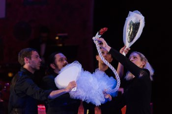 "Puppeteers with ""The Swan"" in a scene from ""The Carnival of the Animals"" at Miller Theatre (Photo credit: Karli Cadel)"
