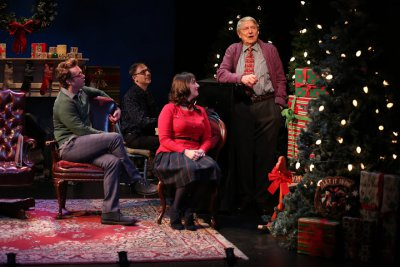 "Ashley Robinson, Mark Hartman at the piano, Jacque Carnahan and John Collum in a scene from the Irish Repertory Theatre's ""A Child's Christmas in Wales"" (Photo credit: Carol Rosegg)"