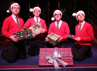 "Ciarán McCarthy, Bradley Beahen, John-Michael Zuerlein and Jose Luaces in a scene from ""Plaid Tidings"" (Photo credit: Carol Rosegg)"