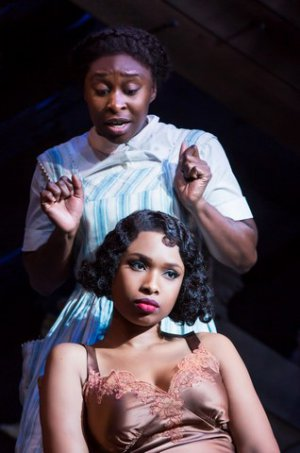 "Cynthia Erivo and Jennifer Hudson (seated) in a scene from ""The Color Purple"" (Photo credit: Matthew Murphy)"