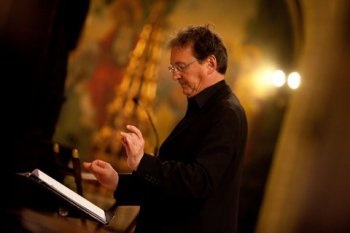The Tallis Scholars' founder and music director Peter Phillips at the Church of St. Mary the Virgin