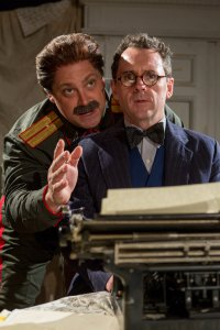 """Ross DeGraw as Joseph Stalin and Brian J. Carter as Mikhail Bulgakov in a scene from John Hodge's """"Collaborators"""" (Photo credit: Michael Abrams)"""