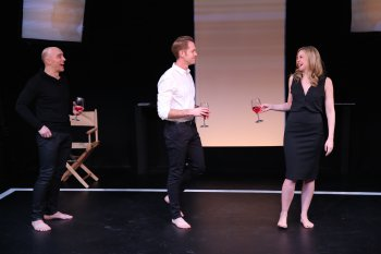 "Tony Naumovski, Ben Cole and Clea Alsip in a scene from ""Wide Awake Hearts"" (Photo credit: Carol Rosegg)"