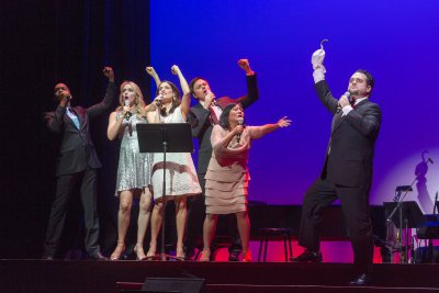 """Darius de Haas, Betsy Wolfe, Elena Shaddow, Aaron C. Finley and Greg Hildreth performing a song from """"Peter Pan"""" as they appeared in 92Y's Lyrics & Lyricists Series: """"A Funny Thing Happened: Songs from the Road to Broadway!"""" (Photo credit: Richard Termine)"""