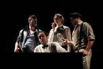 "Kian Kavousi, Ken Straus, Alexandra Kainoa and Matthew Serra in a scene from ""Defendant Maurice Chevalier"" (Photo credit: Angie Kremer)"