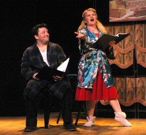 "Patrick John Moran as Hubie and Laura Daniel as Kay in a scene from ""Do Re Mi"" (Photo credit: Michael Portantiere)"