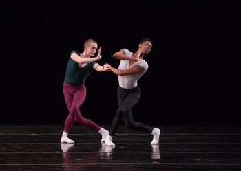 """Mark Sampson and My'Kal Stomile in a scene from Jerome Robbins' """"Moves"""" (Photo credit: Rosalie O'Connor)"""