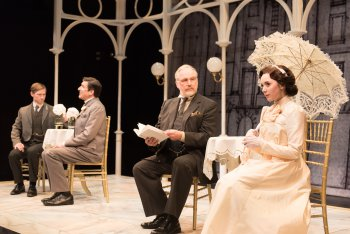 """Jeremy Beck, Jonathan Hadley, Terry Layman and Talene Monahon in a scene from """"Widowers' Houses"""" (Photo credit: Marielle Solan)"""