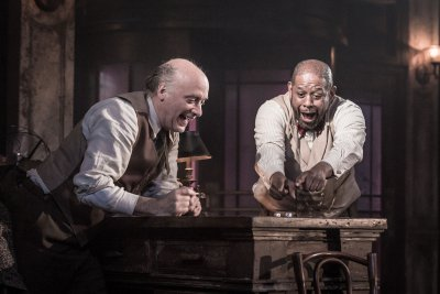 "Frank Wood and Forest Whitaker in a scene from Eugene O'Neill's ""Hughie"" (Photo credit: Marc Brenner)"