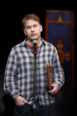 """Mike Barbiglia in """"Thank God for Jokes"""" (Photo credit: Joan Marcus)"""