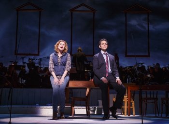 "Christiane Noll as Abigail Adams and Santino Fontana as John Adams as they sing ""Yours, Yours, Yours"" in a scene from ""1776"" (Photo credit: Joan Marcus)"