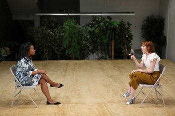 "Eboni Booth and Molly Bernard in a scene from ""Revolt. She Said. Revolt Again."" (Photo credit: Julieta Cervantes)"
