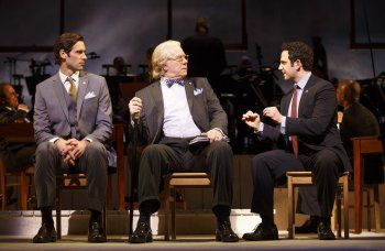 "John Behlmann as Thomas Jefferson, John Larroquette as Benjamin Franklin and Santino Fontana as John Adams in a scene from ""1776"" (Photo credit: Joan Marcus)"