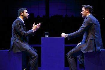 """Sanjit Da Silva and John Krasinski in a scene from """"Dry Powder"""" (Photo credit: Joan Marcus)"""