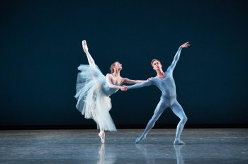 """Simone Messmer and Rainer Krenstetter in a scene from Miami City Ballet's production of Balanchine's """"Serenade"""" (Photo credit: Sasha Iziliaev)"""