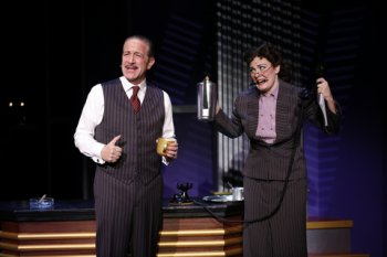 "Bruce Sabath as Jack Warner and Danielle Holden as his secretary in a scene from ""Cagney"" at the Westside Theatre (Photo credit: Carol Rosegg)"