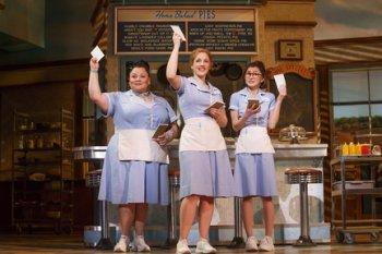 "Keala Settle, Jessie Mueller and Kimiko Glenn in a scene from ""Waitress"" (Photo credit: Joan Marcus)"
