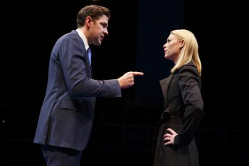 """Claire Danes and John Krasinski in a scene from """"Dry Powder"""" (Photo credit: Joan Marcus)"""
