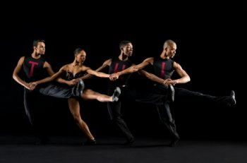 "Dance Theater of Harlem dancers in a scene from Nacho Duato's ""Coming Together"" with (Photo credit: Rachel Neville)"