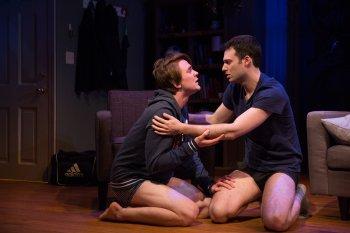 """Thomas E. Sullivan and Jake Epstein in a scene from """"Straight"""" (Photo credit: Matthew Murphy)"""