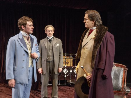 """Charlie Rowe, Cal MacAninch and Rupert Everett in a scene from """"The Judas Kiss"""" (Photo credit: Richard Termine)"""
