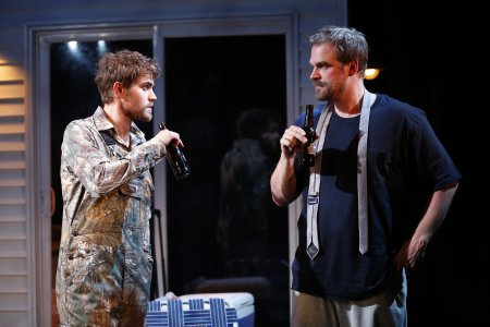 """Paul Wesley and David Harbour in a scene from """"Cal in Camo"""" (Photo credit: Carol Rosegg)"""