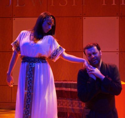 "Elena Barone and David Serero in a scene from the American Sephardi Federation's production of ""Othello"""