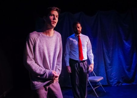 """Dylan Goodwin and Erik Ransom in a scene from """"The Screens,"""" part of """"Blankets and Bedtime"""" (Photo credit: Bryan Cash)"""