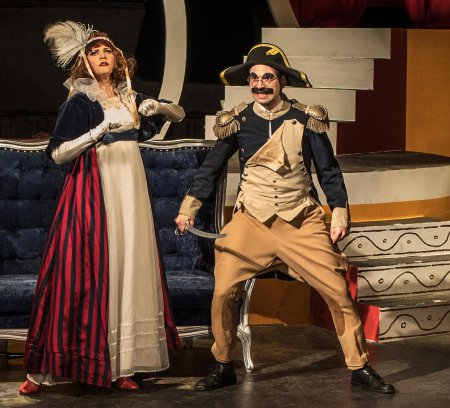"Melody Jane as Beauty and Noah Diamond as Groucho Marx in a scene from ""I'll Say She Is"" (Photo credit: Stefan Timphus)"