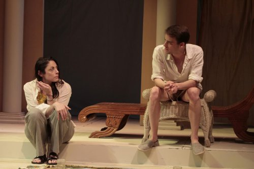 "Najla Said and P.J. Brennan in a scene from Karen Malpede's ""The Beekeeper's Daughter"" (Photo credit: Beatrice Schiller)"