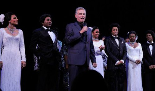 "John Breglio on mike after the opening night of his revival of ""Dreamgirls"""