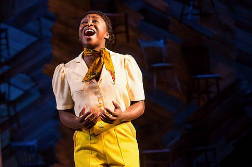 "Cynthia Erivo as Celie Harris in a scene from the Tony Award-winning Best Revival of a Musical ""The Color Purple"" (Photo credit: Matthew Murphy)"