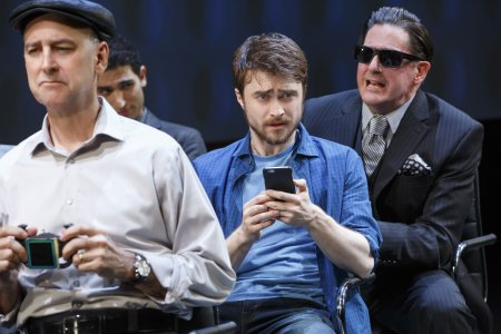 """Michael Countryman, Raffi Barsoumian, Daniel Radcliffe and Red Rogers in a scene from """"Privacy"""" now at the Public Theater (Photo credit: Joan Marcus)"""
