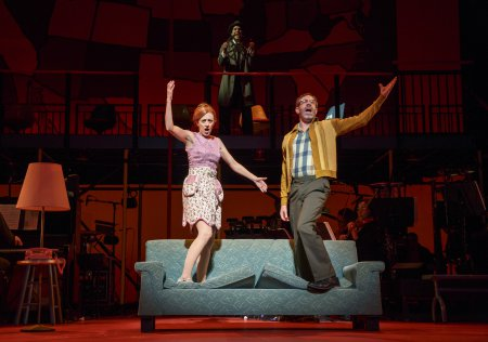 """Kate Weatherhead, Skylar Astin and Kevin Del Aguila sing """"The Rhode Island Tango"""" in a scene from """"Kurt Vonnegut's God Bless You, Mr. Rosewater"""" (Photo credit: Joan Marcus)"""