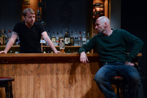 "Robert Zawadzki and Patrick O'Kane in the Abbey Theatre's production of ""Quietly"" at the Irish Rep (Photo credit: James Higgins)"