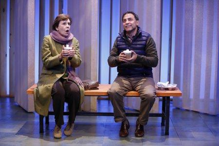 "Maggie Burke and David Deblinger in a scene from Cusi Cram's ""The Helpers"" (Photo credit: Carol Rosegg)"