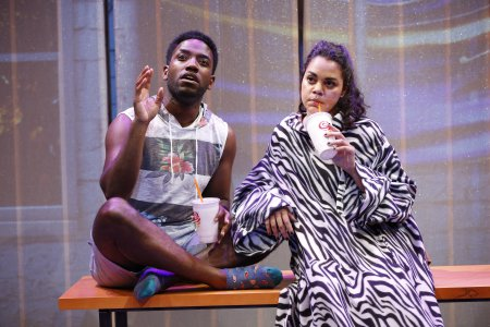 """Chinaza Uche and Kerry Warren in a scene from A. Rey Pamatmat's """"This Is How It Ends"""" (Photo credit: Carol Rosegg)"""