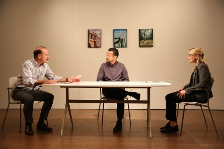 """Murphy Guyer, Louis Ozawa Changchien and Leslie Fray in a scene from """"Caught"""" (Photo credit: Carol Rosegg)"""