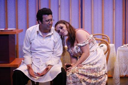 "Saverio Tuzzolo and Casandera M.J. Lollar in a scene from Alexander Dinelaris' ""Queen"" (Photo credit: Carol Rosegg)"