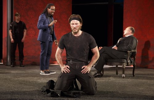 """Andrew Chaffee (Margareton), Maurice Jones (Paris), Bill Heck (Hector) and Miguel Perez (King Priam) in a scene from """"Troilus and Cressida"""" (Photo credit: Joan Marcus)"""