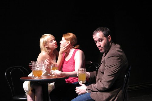 "Christina Toth, Crystal Edn and Randall Rodriguez in a scene from ""Crimes and Crimes"" (Photo credit: Remy)"