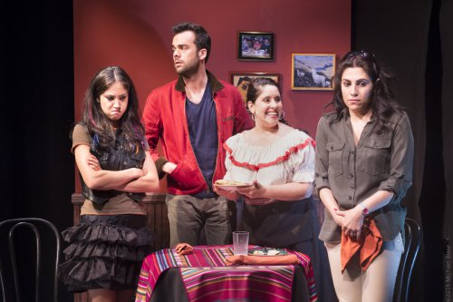 "Connie Saltzman, Andres de Vengoechea, Gladys Perez and Vanessa Verduga in a scene from ""Implications of Cohabitation""  (Photo credit: Michael Blase)"