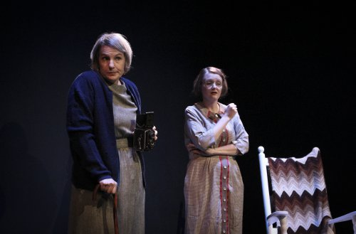 "Jennifer Thalman Kepler as Alice Austen and Laura Ellis as Gertrude Tate in a scene from ""Alice in Black and White"" (Photo credit: Holly Stone)"
