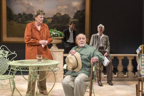 "Jill Tanner, Julian Elfer, George Morforgen and Philip Goodwin in a scene from ""A Day by the Sea"" (Photo credit: Richard Termine)"