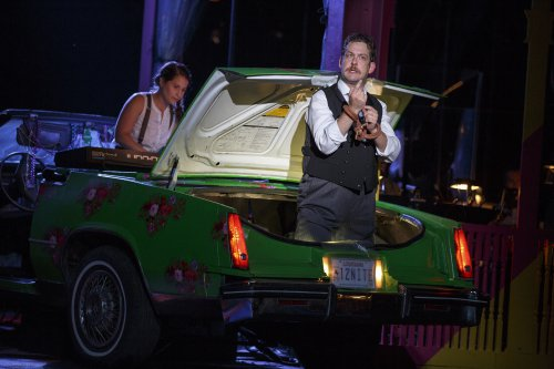 """Shaina Taub as Music Director and Andrew Kober as Malvolio in a scene from """"Twelfth Night"""" in the Public Theater's free Public Works production (Photo credit: Joan Marcus)"""