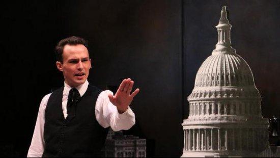 """Austin Scott Lombardi as Congressman La Guardia in a scene from """"Fiorello!"""" (Photo credit: Alexander Hill)"""