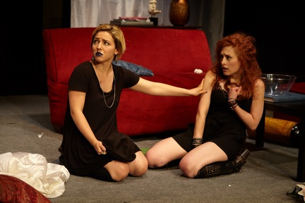"Erika Santosuosso and Kelsey Moore in a scene from ""Bachelorette"" (Photo credit: Giovanna Grueiro)"