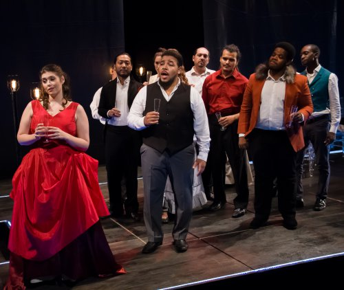 "The Company of Dell'Arte Opera Ensemble's production of ""La Traviata"" in the first act party scene (Photo credit: Mark Brown)"