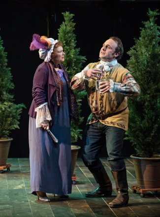 "Cynthia Darlow and Richard Thieriot in a scene from TACT's revival of ""She Stoops to Conquer"" (Photo credit: Marielle Solan)"