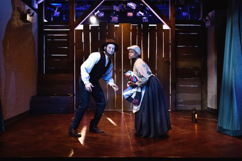 "Jennifer Kidwell and Scott Sheppard in ""Underground Railroad Game"" (Photo credit: Ben Arons)"